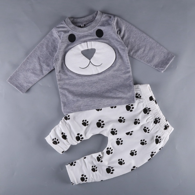 Baby Long Sleeve Puppy Top, Romper Paw Prints 2-Piece Playwear Set