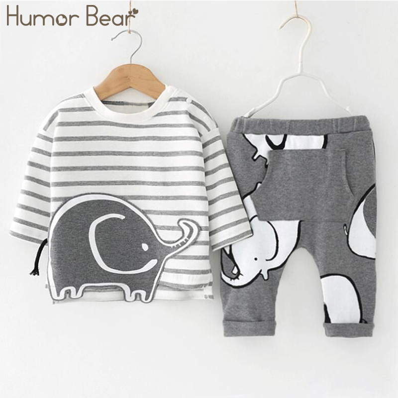 Fashion Elephant Cartoon Style Long Sleeve & Pants 2 PC