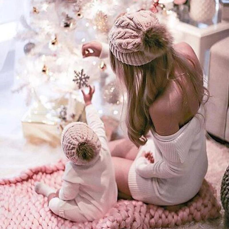Cute Infant Baby and Mom Knitting Warm Pompon Hat