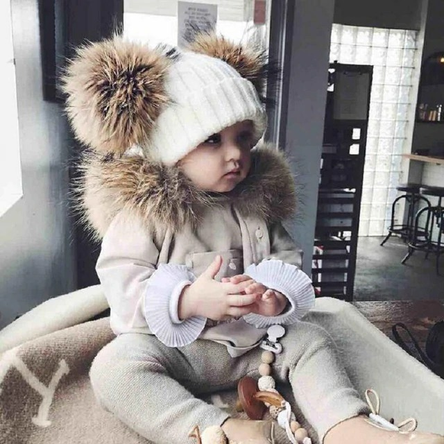 Puseky Dual Warm Winter Ball Knitted Hat Kid Child