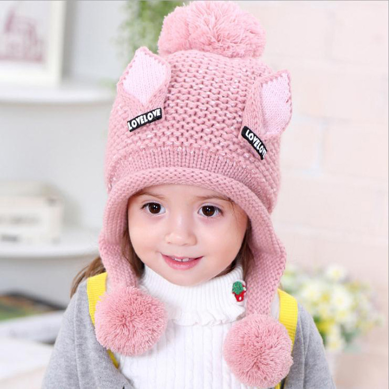Cute Plus velvet Winter Baby Child knitted hat Earflap