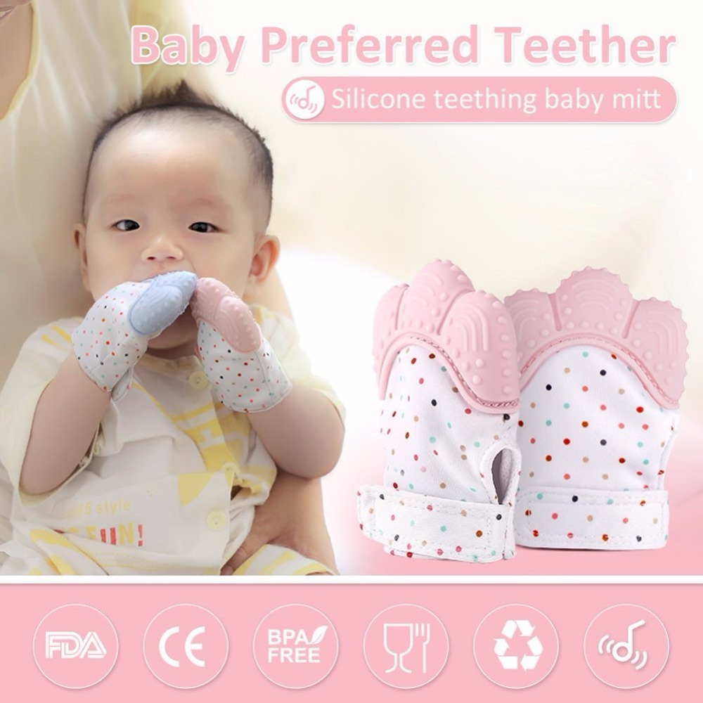 2018 Newborn Baby Gloves Silicone Baby Mitt Teething Mitten Teething Glove Wrapper Sound Teether