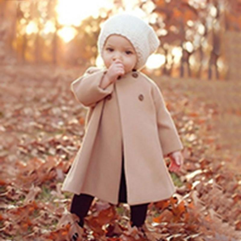 Adorable Toddler Girls  Button Coat Outwear Long Sleeve Wool Winter Coats
