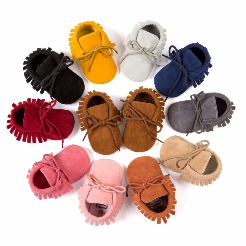 Cute Girls Boys Tassel Lace-Up Nubuck Leather First Walkers Shoes Soft Bottom
