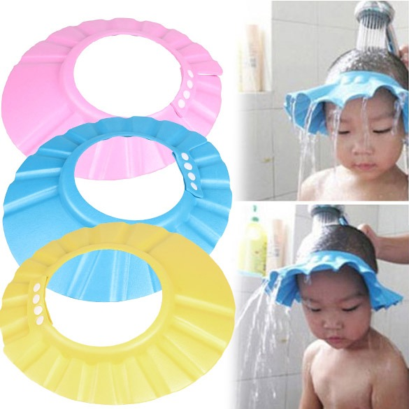 Shampoo Bath Shower Cap Adjustable Soft Hair Wash Props Baby Wash Hair Shield foam
