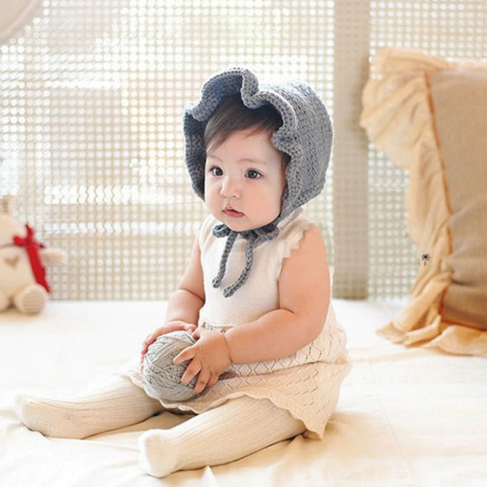 Cute Princess  Knitted Wool Hats Solid  Baby Girls  Prop Winter