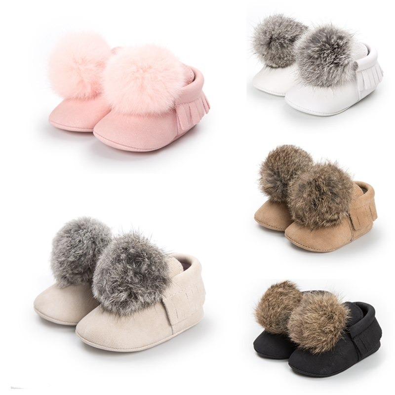 Adorable Hair Ball Wool Shoes Toddler Infant Newborn First Walker Fashion Shoes All Seasons