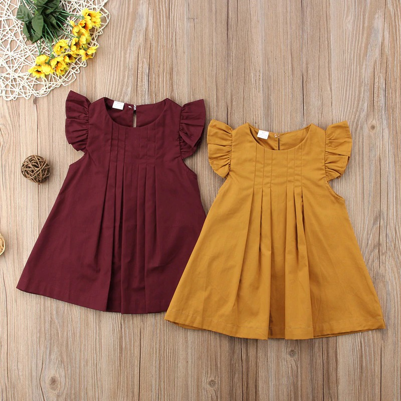 Cute Baby Girls hot Summer Fly Sleeve Brief Vintage Princess Dresses