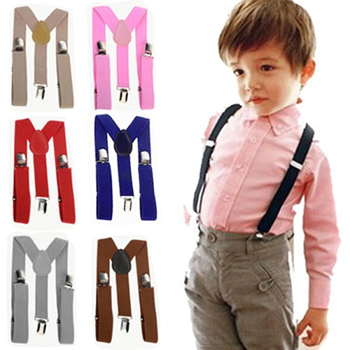 Cute Boys Clip on Suspender Y Back Child Elastic Suspenders Braces Solid