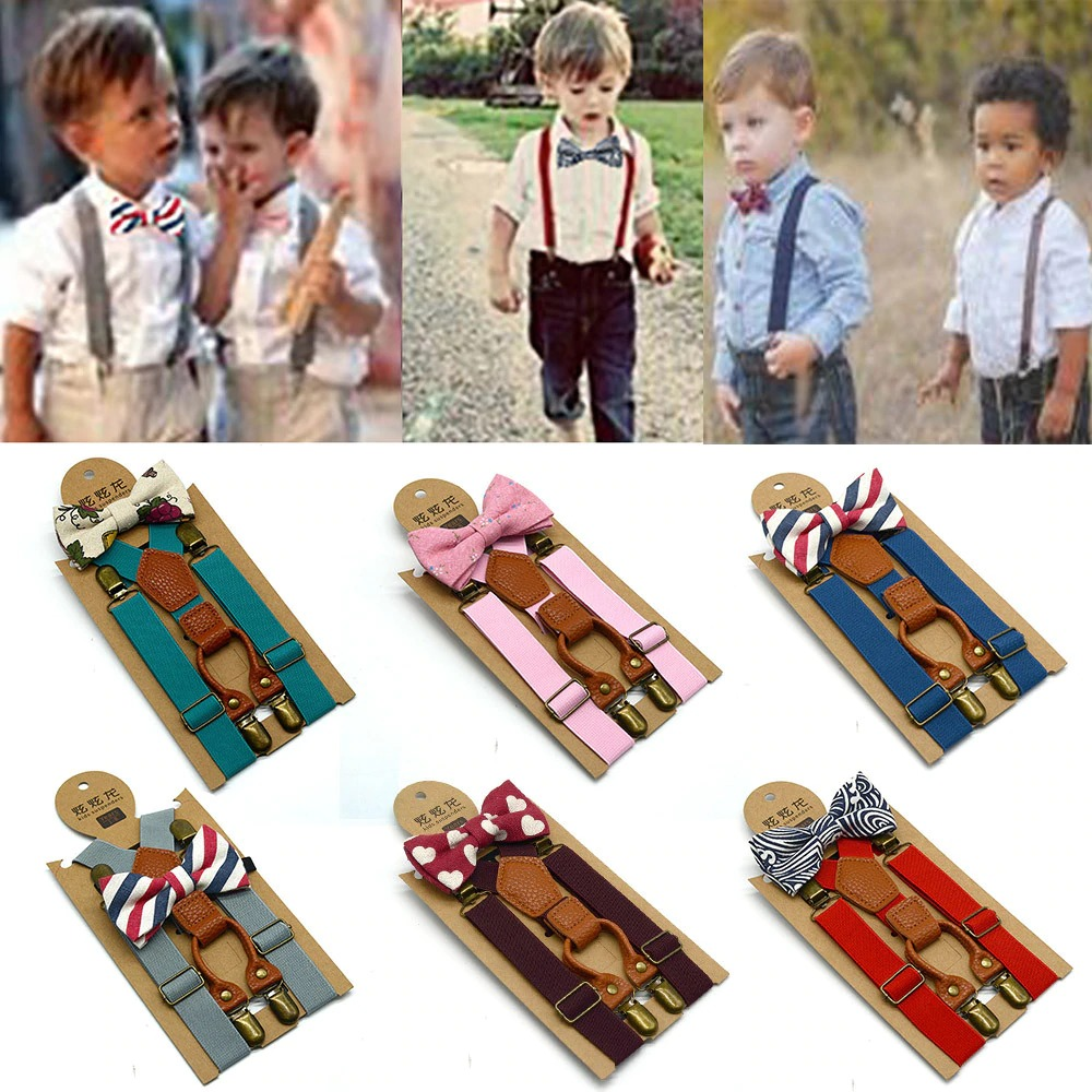 Boy's Kids Bow Ties Sets Matching Braces Suspenders and Luxury Bow Tie Set