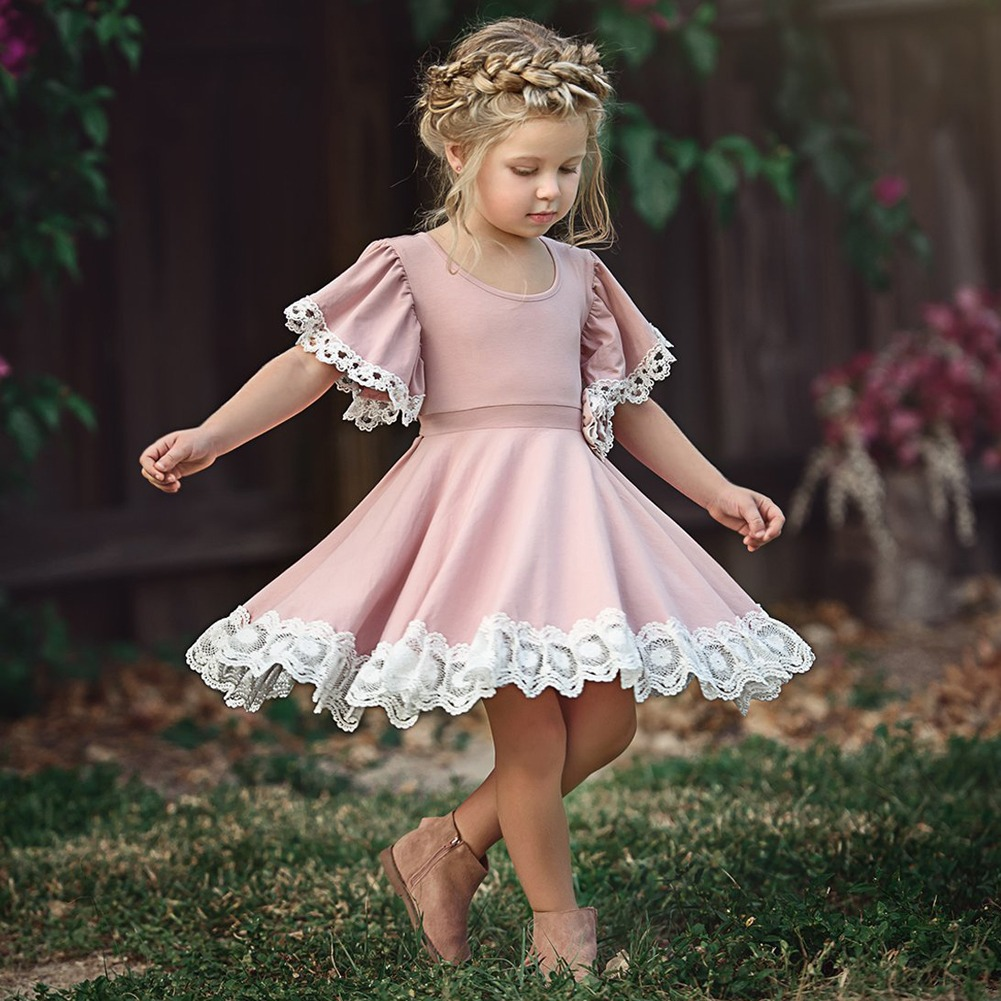 Pretty Lace Princess round neck short sleeve Geometry Kids Baby Girls  sleeve Geometry Toddler cotton casual newborn Party Dresses one pieces