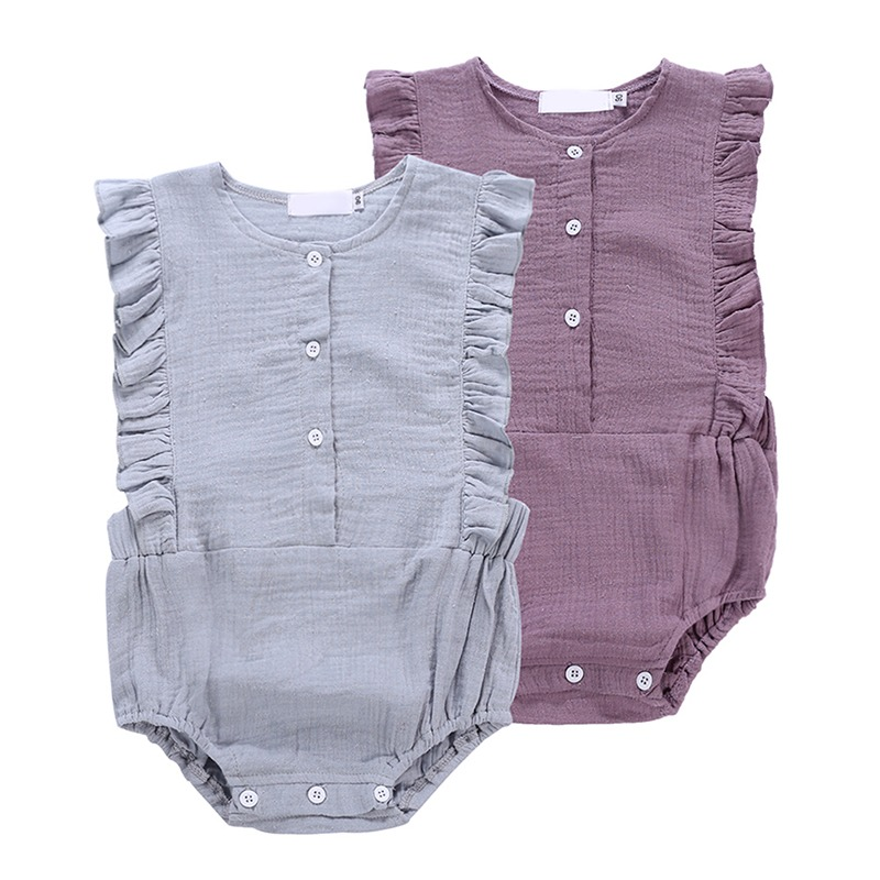 Cute Baby Girl Romper Solid Sleeveless Jumpsuit