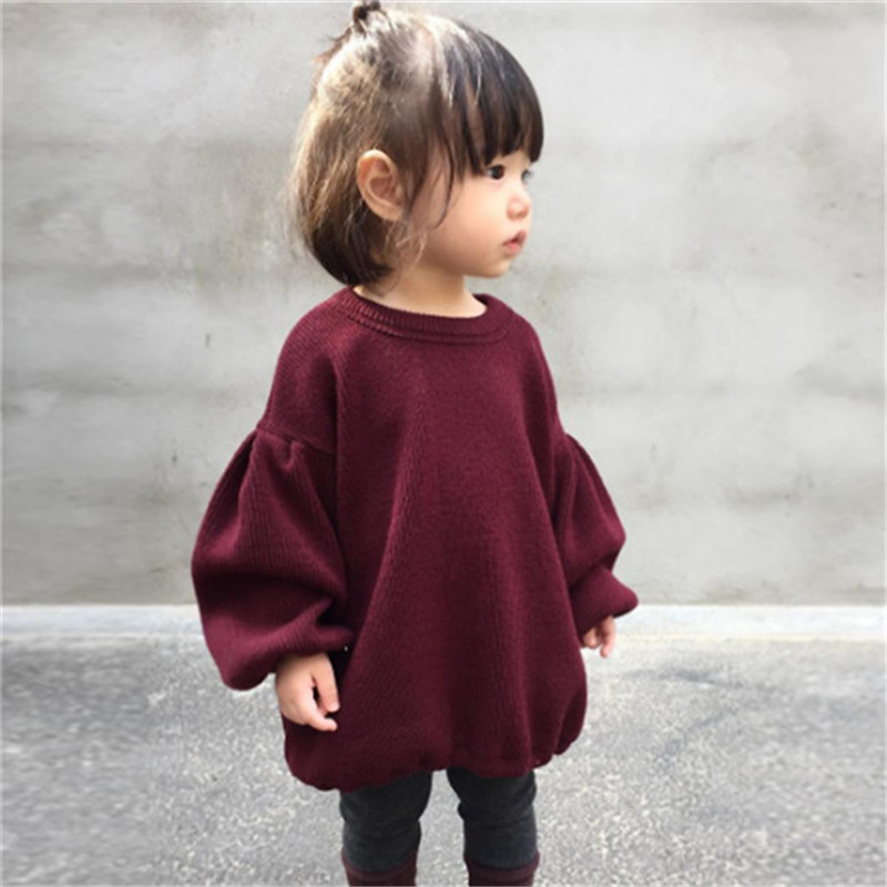 Pudcooc Winter Baby Girls Sweaters Kids Autumn solid color Sweater For Girls