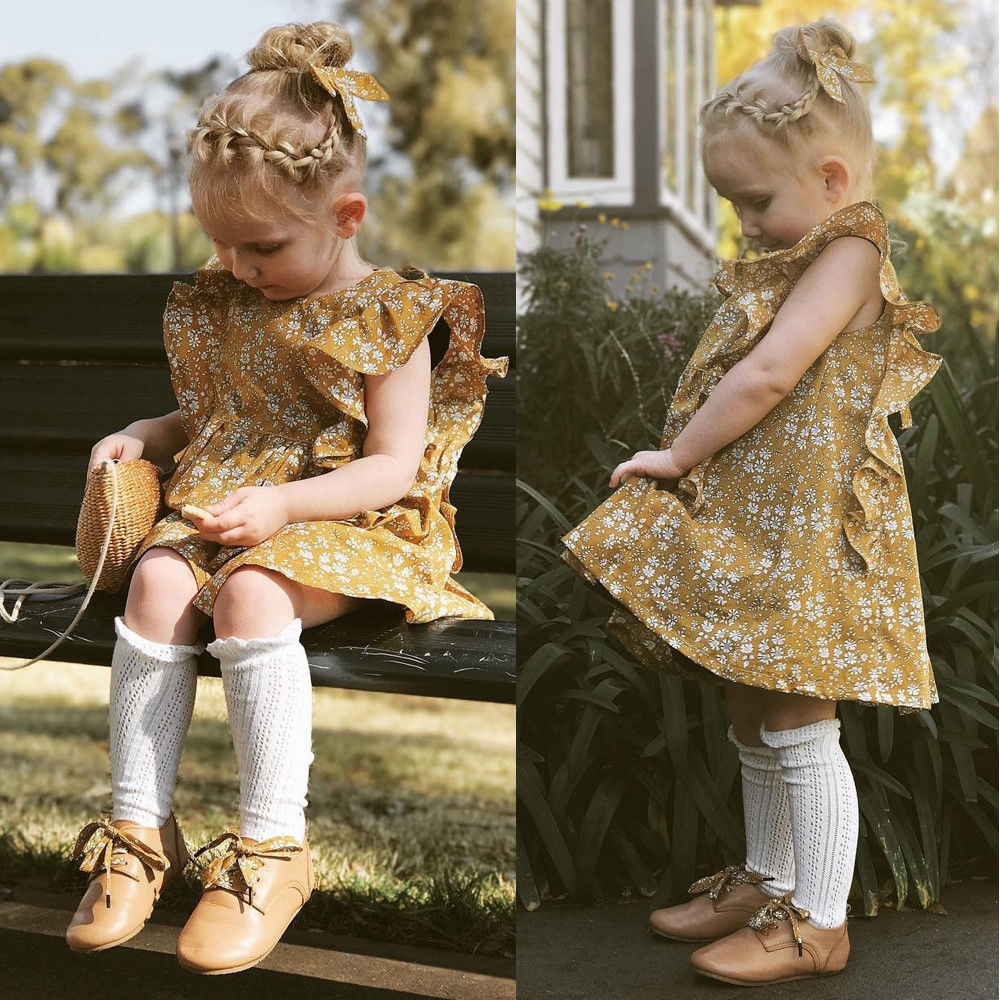 Pretty Ruffles Floral Summer Dress Toddler Kids Baby Girl Vintage Fashion Style Short Sleeve